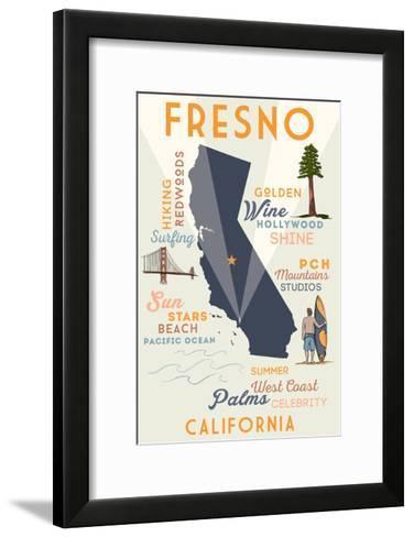 Fresno, California - Typography and Icons-Lantern Press-Framed Art Print