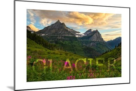 Glacier National Park, Montana - Sunset and Flowers (Horizonal Version)-Lantern Press-Mounted Art Print