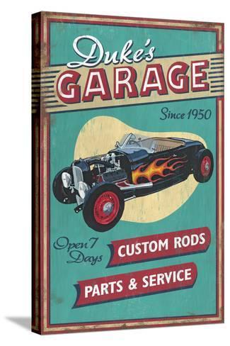 Dukes Garage - Vintage Sign-Lantern Press-Stretched Canvas Print