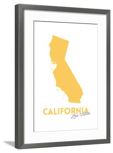 Los Altos, California - State Outline and Heart-Lantern Press-Framed Art Print