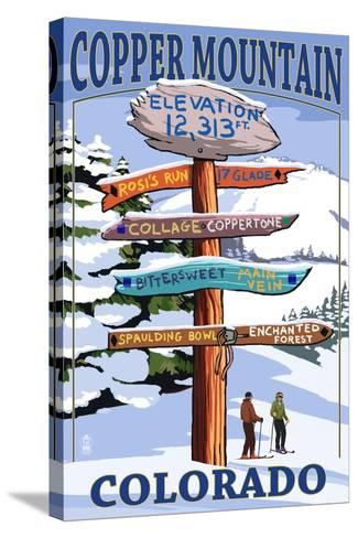 Copper Mountain, Colorado - Destination Signpost (Version 2)-Lantern Press-Stretched Canvas Print
