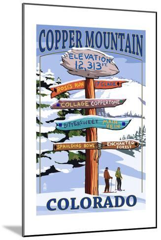 Copper Mountain, Colorado - Destination Signpost (Version 2)-Lantern Press-Mounted Art Print