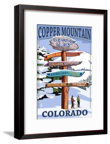 Copper Mountain, Colorado - Destination Signpost (Version 2)-Lantern Press-Framed Art Print