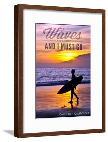 Cayucos, California - the Waves are Calling - Surfer and Sunset-Lantern Press-Framed Art Print