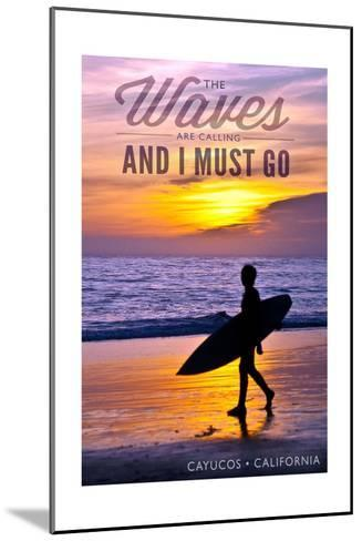Cayucos, California - the Waves are Calling - Surfer and Sunset-Lantern Press-Mounted Art Print