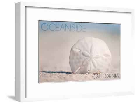 Oceanside, California - Sand Dollar on Beach-Lantern Press-Framed Art Print