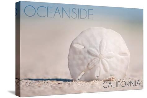 Oceanside, California - Sand Dollar on Beach-Lantern Press-Stretched Canvas Print