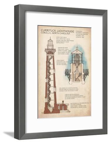 Outer Banks, North Carolina - Currituck Beach Lighthouse Technical-Lantern Press-Framed Art Print