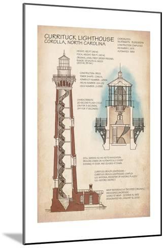 Outer Banks, North Carolina - Currituck Beach Lighthouse Technical-Lantern Press-Mounted Art Print