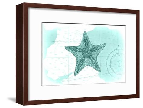 Starfish - Teal - Coastal Icon-Lantern Press-Framed Art Print