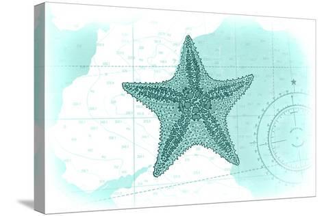 Starfish - Teal - Coastal Icon-Lantern Press-Stretched Canvas Print