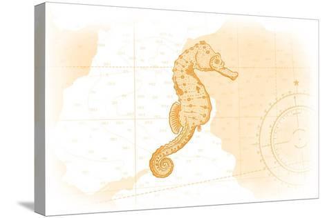Seahorse - Yellow - Coastal Icon-Lantern Press-Stretched Canvas Print
