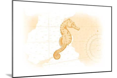 Seahorse - Yellow - Coastal Icon-Lantern Press-Mounted Art Print