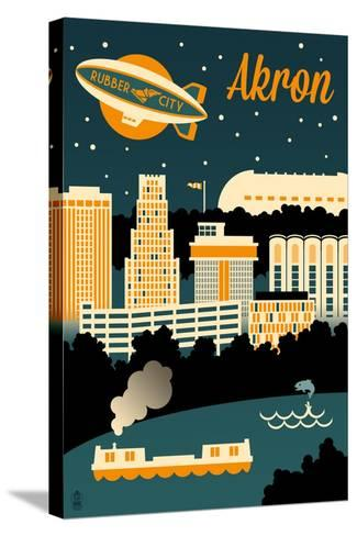 Akron, Ohio - Retro Skyline-Lantern Press-Stretched Canvas Print