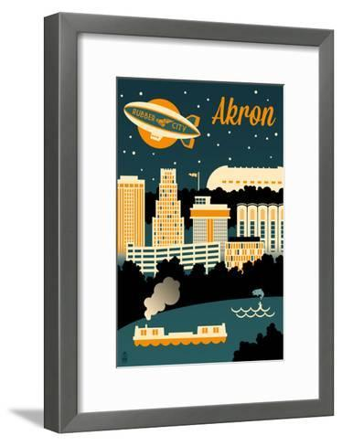 Akron, Ohio - Retro Skyline-Lantern Press-Framed Art Print
