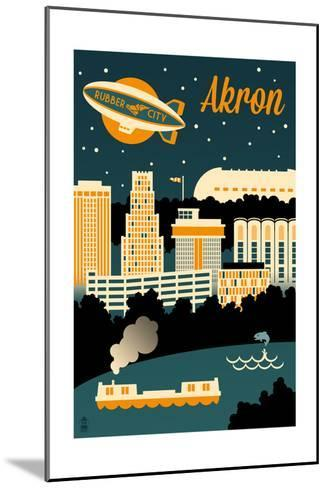 Akron, Ohio - Retro Skyline-Lantern Press-Mounted Art Print