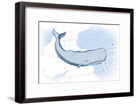 Whale - Blue - Coastal Icon-Lantern Press-Framed Art Print