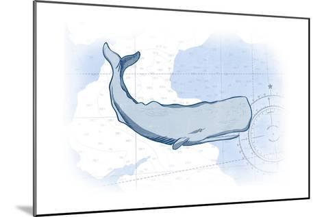 Whale - Blue - Coastal Icon-Lantern Press-Mounted Art Print