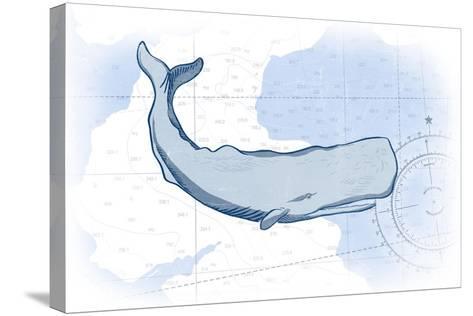 Whale - Blue - Coastal Icon-Lantern Press-Stretched Canvas Print