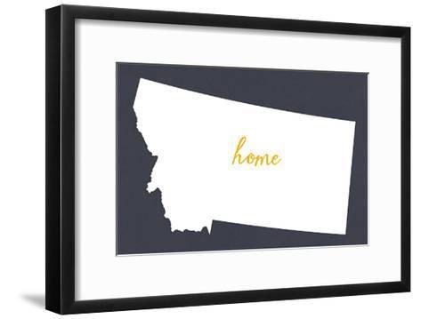 Montana - Home State - White on Gray-Lantern Press-Framed Art Print