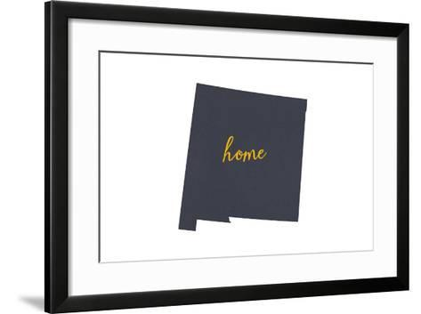 New Mexico - Home State - Gray on White-Lantern Press-Framed Art Print