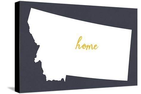 Montana - Home State - White on Gray-Lantern Press-Stretched Canvas Print