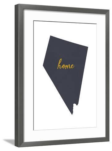 Nevada - Home State - Gray on White-Lantern Press-Framed Art Print