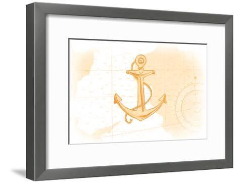 Anchor - Yellow - Coastal Icon-Lantern Press-Framed Art Print