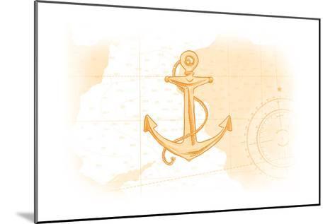 Anchor - Yellow - Coastal Icon-Lantern Press-Mounted Art Print