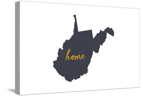 West Virginia - Home State - Gray on White-Lantern Press-Stretched Canvas Print