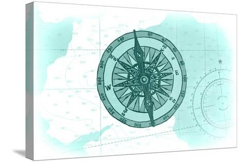 Compass - Teal - Coastal Icon-Lantern Press-Stretched Canvas Print