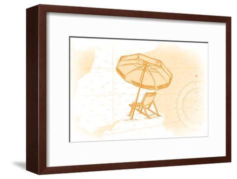 Beach Chair and Umbrella - Yellow - Coastal Icon-Lantern Press-Framed Art Print
