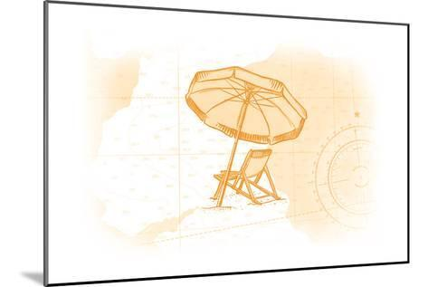 Beach Chair and Umbrella - Yellow - Coastal Icon-Lantern Press-Mounted Art Print