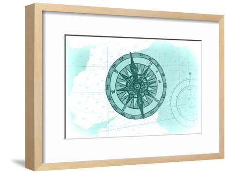 Compass - Teal - Coastal Icon-Lantern Press-Framed Art Print