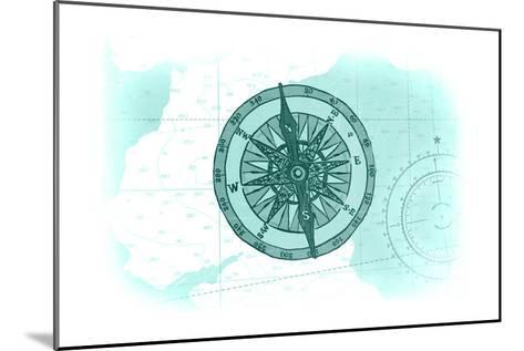 Compass - Teal - Coastal Icon-Lantern Press-Mounted Art Print