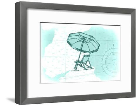 Beach Chair and Umbrella - Teal - Coastal Icon-Lantern Press-Framed Art Print