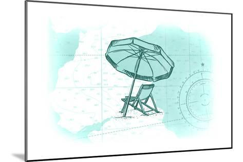 Beach Chair and Umbrella - Teal - Coastal Icon-Lantern Press-Mounted Art Print