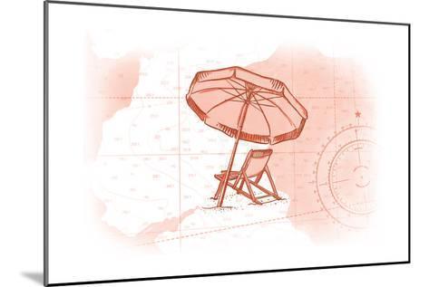 Beach Chair and Umbrella - Coral - Coastal Icon-Lantern Press-Mounted Art Print