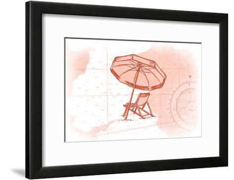 Beach Chair and Umbrella - Coral - Coastal Icon-Lantern Press-Framed Art Print