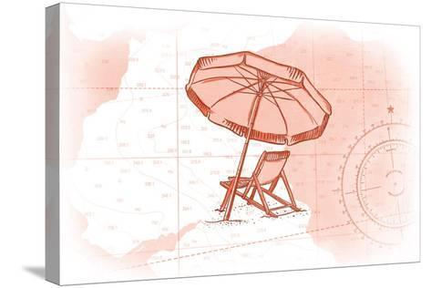 Beach Chair and Umbrella - Coral - Coastal Icon-Lantern Press-Stretched Canvas Print