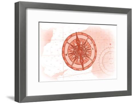 Compass - Coral - Coastal Icon-Lantern Press-Framed Art Print