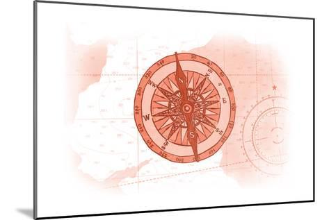 Compass - Coral - Coastal Icon-Lantern Press-Mounted Art Print