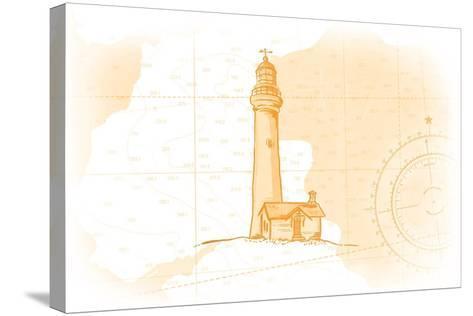Lighthouse - Yellow - Coastal Icon-Lantern Press-Stretched Canvas Print