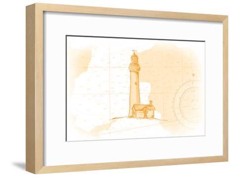 Lighthouse - Yellow - Coastal Icon-Lantern Press-Framed Art Print