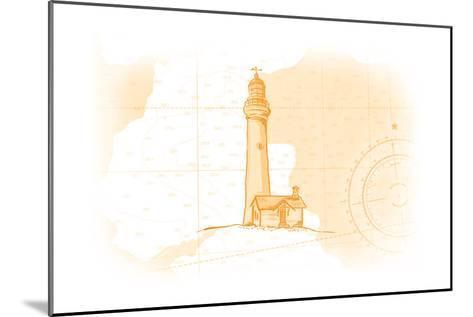 Lighthouse - Yellow - Coastal Icon-Lantern Press-Mounted Art Print