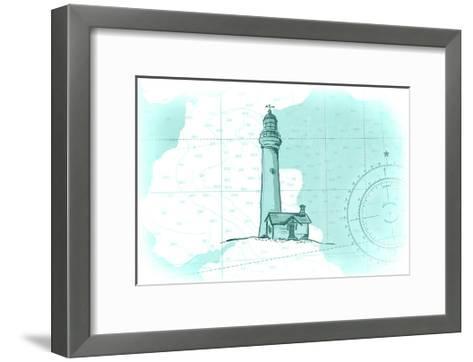 Lighthouse - Teal - Coastal Icon-Lantern Press-Framed Art Print
