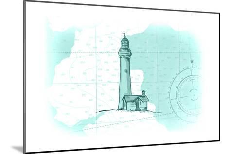 Lighthouse - Teal - Coastal Icon-Lantern Press-Mounted Art Print