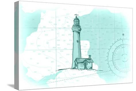 Lighthouse - Teal - Coastal Icon-Lantern Press-Stretched Canvas Print