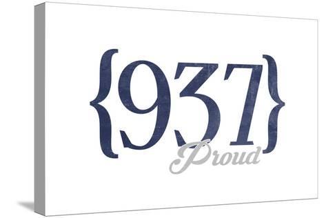 Dayton, Ohio - 937 Area Code (Blue)-Lantern Press-Stretched Canvas Print