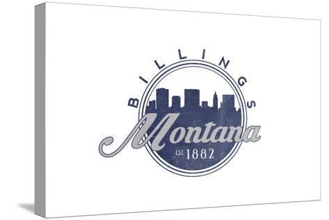 Billings, Montana - Skyline Seal (Blue)-Lantern Press-Stretched Canvas Print